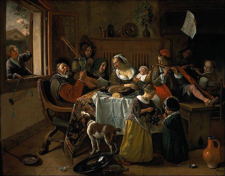 Quel peintre hollandais a réalisé 'La famille heureuse' ?