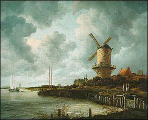 Quel peintre hollandais a réalisé 'Le moulin de Wijk' ?