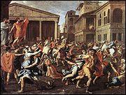 Quel peintre français a réalisé 'L'enlèvement des Sabines' ?