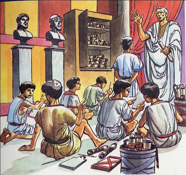 À partir de quel âge vont à l'école les petits romains ?