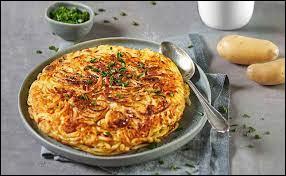 Quel est le nom de cette galette de pommes de terre mélangées avec du fromage, des oignons et du lard ?
