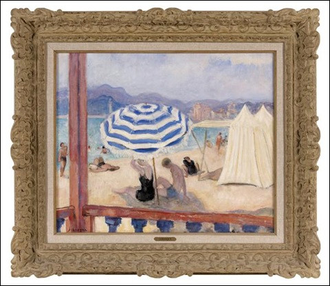 """Son tableau s'intitule """"Parasol bleu et tentes"""" ?"""