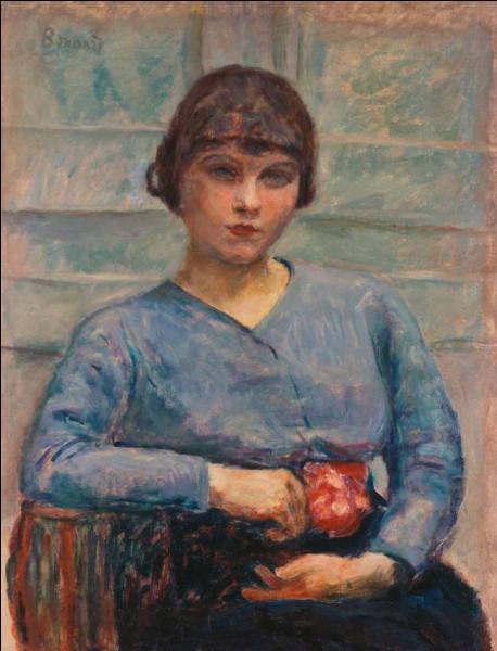 """Qui a réalisé la toile """"Jeune fille en bleu avec une rose"""" ?"""