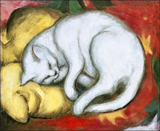 Qui a représenté ce chat sur un coussin jaune ?