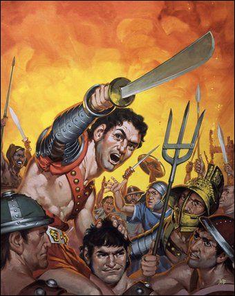 Par qui est mené la guerre des gladiateurs révoltés contre Rome ?
