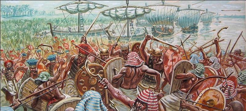 """Pharaon de la XXe dynastie vers 1200 av J. -C repoussant la coalition des """"peuples de la mer"""" ayant l'intention d'envahir l'Égypte. Qui est-il ?"""