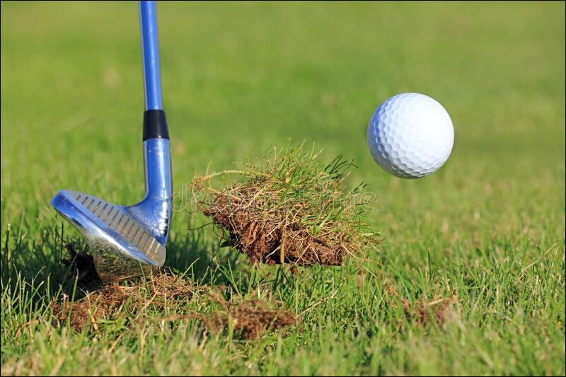 Au golf, parcelle de gazon arrachée par le club :