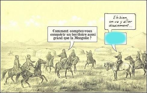 Très judicieuse question posée à Gengis Khan ! Que répond-il, d'après ce cliché d'époque ?
