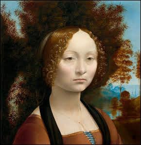 """Il est l'auteur de ce tableau """"Le portrait de Ginevra de' Benci"""", peint vers 1474-1476 :"""