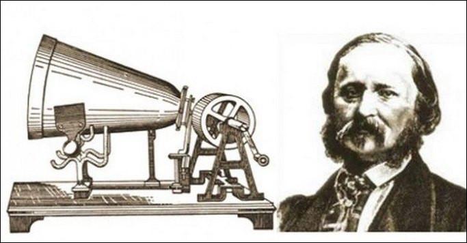 Le Français Scott de Martinville fixe un stylet sur une membrane élastique pour enregistrer sa voix. Le 1er enregistrement d'une voix le 9 avril 1860 sera la comptine :