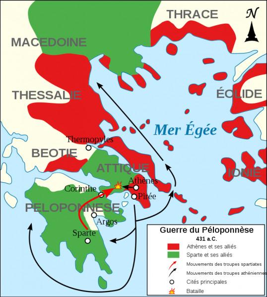 La guerre du Péloponnèse se déroula entre 431 et 404 av. J.-C. et opposa deux alliances, celle de Sparte et celle d'Athènes. Qu'est-ce qui ne se passa pas durant ce conflit ?