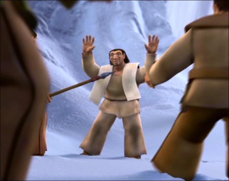 Que dit le père du bébé aux autres membres de sa tribu pour les empêcher de tuer Manny ?