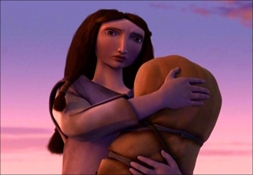 Lorsque Diego l'attaque, que fait la femme pour sauver son bébé ?