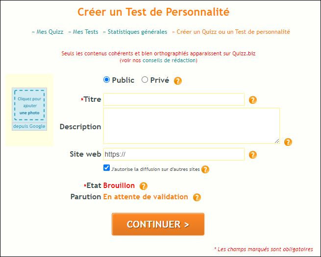Depuis quand peut-on créer des tests de personnalité ?