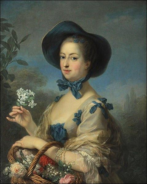 """Notez le brin de muguet dans son panier ! Qui a représenté """"Madame de Pompadour en belle jardinière"""" ?"""