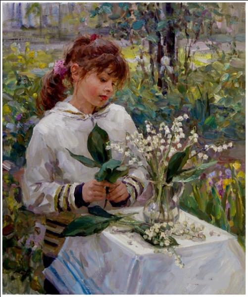 Qui est le peintre de cette jeune fille au bouquet de muguet ?