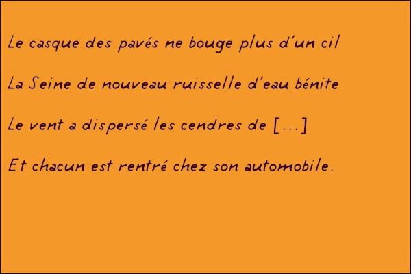 """""""Mai, mai, mai Paris, maiMai, mai, mai Paris...""""Qui chantait ce refrain incantatoire ? Quelle est la rime manquante (vers 3) ?"""