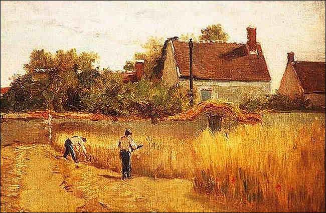 Qui a immortalisé cette scène des champs avec la maison de l'artiste ?