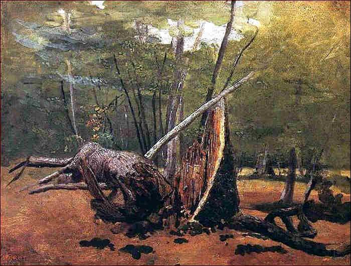 """Qui a peint """"Le Tronc d'arbre dans la forêt de Barbizon"""" ?"""