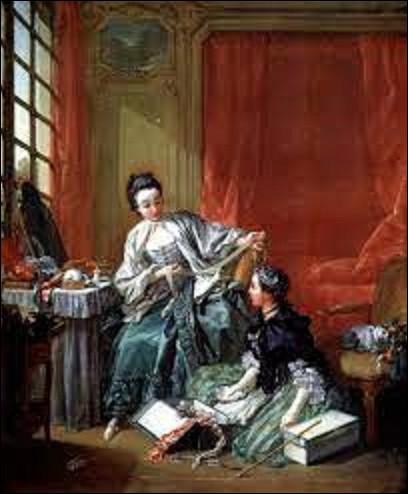 Huile sur toile datant de 1746, ''La Marchande de mode'' est une toile d'un peintre rococo. De ces trois artistes, lequel a réalisé ce tableau ?