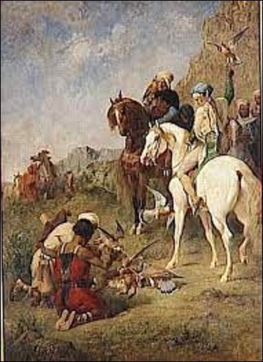Quel orientaliste a peint cette toile intitulée ''Chasse au faucon. La curée'' vers 1863 ?