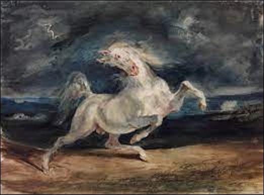 Tableau à l'aquarelle sur papier ''Cheval effrayé par l'orage'' également nommé ''Le Cheval blanc effrayé par l'orage'' est un tableau peint entre 1824 et 1829. Quel romantique est l'auteur de cette toile ?