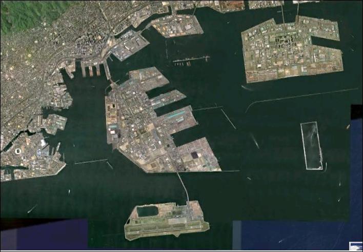 Nous nous trouvons à Osaka au Japon : ces espaces gagnés sur la mer pour développer les acitivités du port sont appelés ... ?
