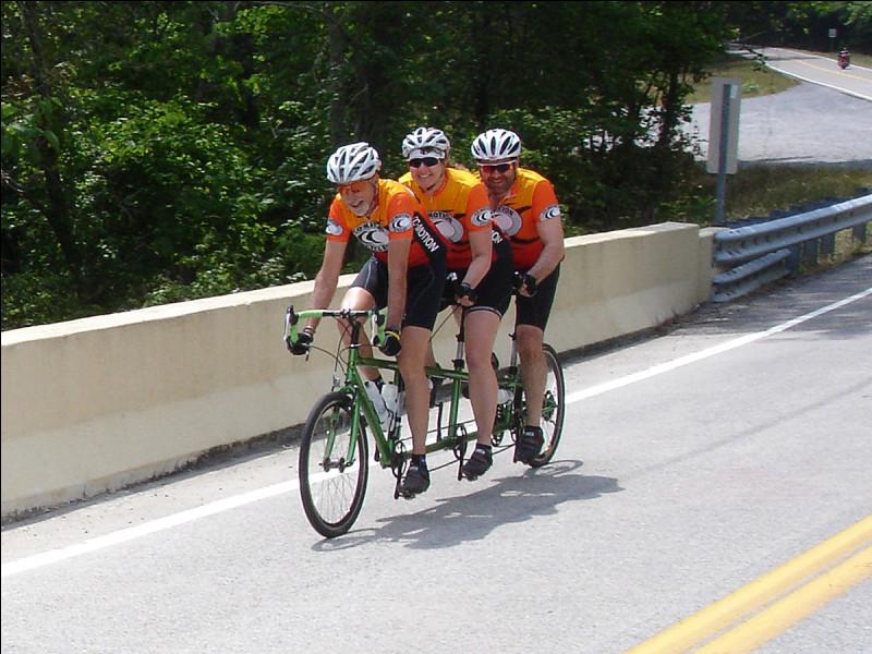 Ces trois cyclistes pédalent. Sur quel vélo sont-ils assis ?