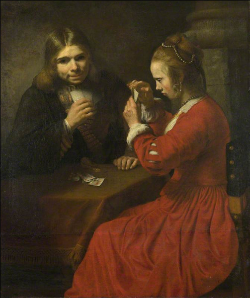 """Qui a peint """"Jeune homme et jeune fille jouant aux cartes"""" ?"""