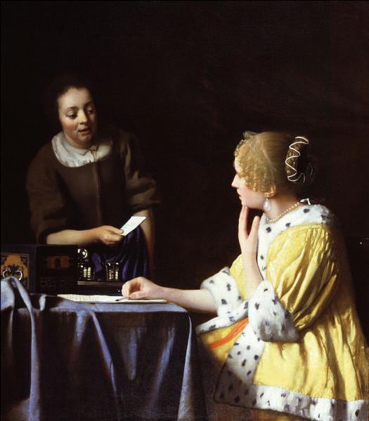 """Qui a peint """"Jeune femme recevant une lettre de sa servante"""" ?"""