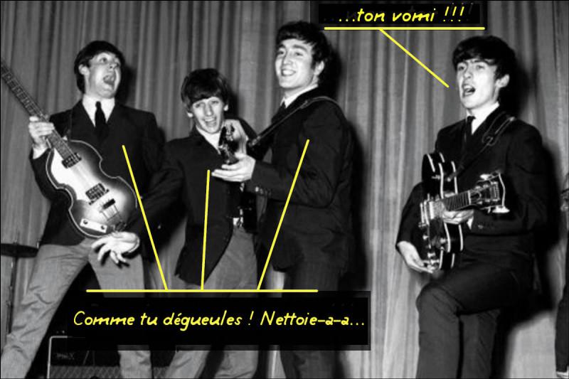 ...et pendant ce temps, les Beatles (encoreeux !) chantent vraiment n'importe quoi, sous prétexte qu'on comprend rien... Mais vous, vous avez reconnu, non ?