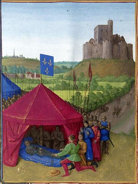 """1380, Bertrand du Guesclin, connétable de France > """"Le Dogue noir de Brocéliande"""" meurt d'une pneumonie ou d'une dysenterie, suite à ... (quoi donc ?)"""
