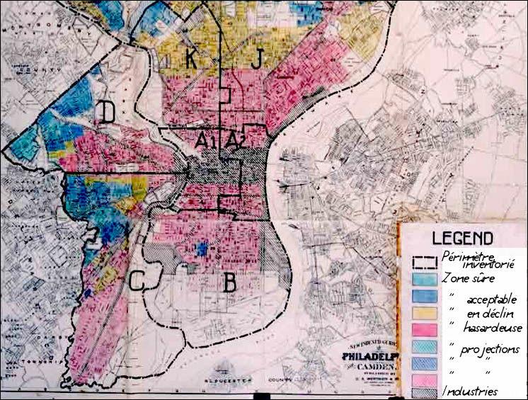 1938 > Sur cette carte du centre de Philadelphie, les quartiers sont différenciés (voir légende traduite). Quelle institution fédérale est à l'origine de ce type de documents ?