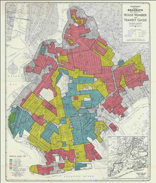 """Voici le quartier de Brooklyn (NY) répertorié par un """"expert gouvernemental"""" du HOLC en 1938. Qui habite les quartiers """"rouges"""" ?"""