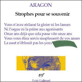 Retrouvez les derniers mots (4 pieds, rimant avec le 2e vers) de ce poème d'Aragon.