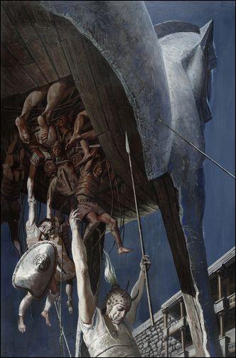 Soldats grecs descendant d'un cheval de bois afin de détruire entièrement la cité de leurs ennemis. Quelle est-elle ?