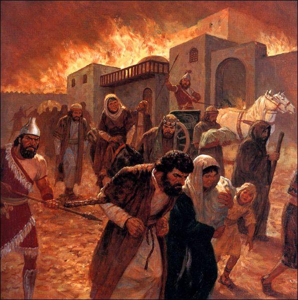 En 586 av J.-C un puissant roi babylonien assiégea la ville de Jérusalem, la détruira par le feu puis déporta son peuple. Qui est-il ?