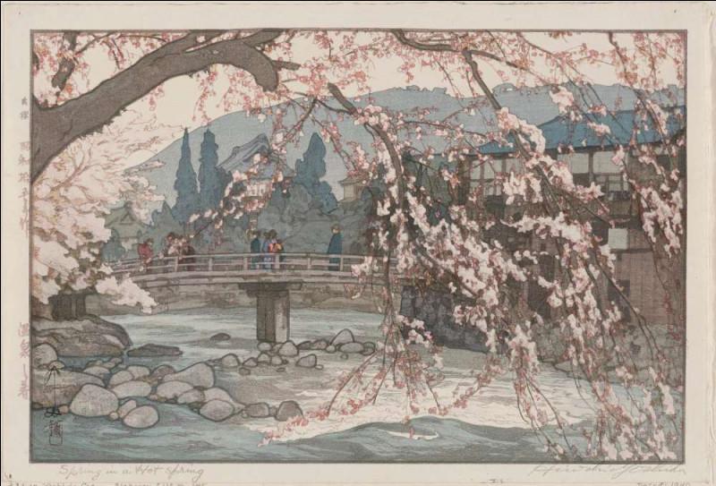 """Où le tableau """"Rivière au printemps"""" de Hiroshi Yoshida se trouve-t-il ?"""