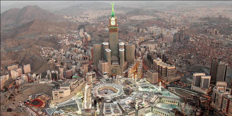 Direction de La Mecque, vers laquelle les musulmans se tournent pour la prière :