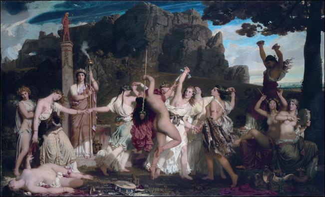 Les Bacchantes sont les servantes de Bacchus dans la mythologie romaine. Comment les appelait-on en Grèce ?