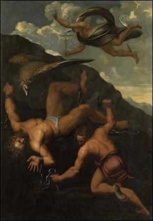 Pour récompenser Styx de l'avoir aidé, Zeus prit ses fils à son service et leur ordonna d'enchaîner Prométhée. Leurs noms signifiant respectivement 'Violence' et 'Pouvoir', il s'agit de :