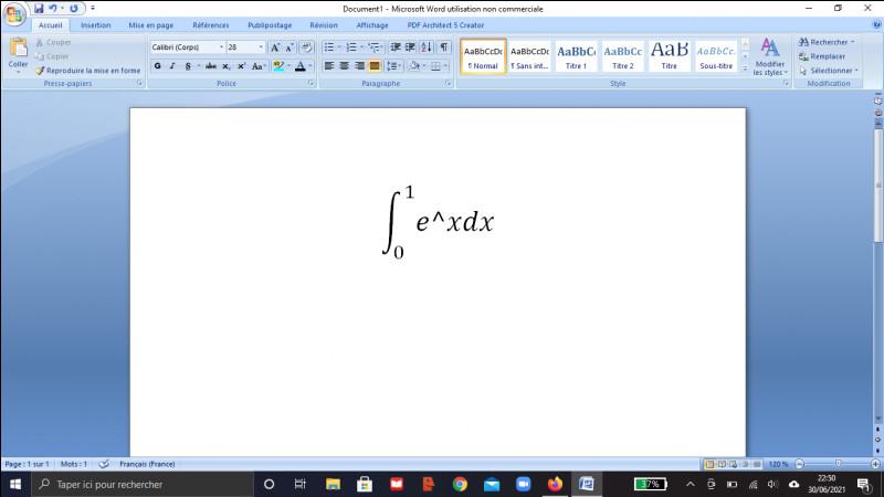 Calculer l'intégrale suivante entre 0 et 1 : integr(e^xdx)