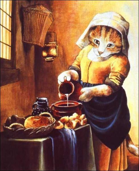 Quel est le métier de la femme, remplacée par un chat, sur cette peinture ?