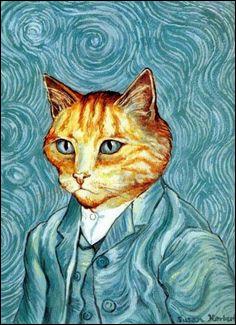 Quel est le peintre qui a réalisé cet autoportrait où s'est glissé ce chat ?