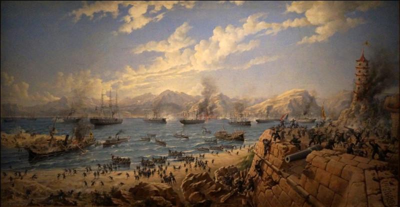 Le 23 août 1884, à la bataille de Fuzhou, la flotte chinoise perd son vaisseau amiral le Yang-Ou, un croiseur en bois de 1 393 tonneaux et 10 canons, ainsi que plus de la moitié de ses navires. Quel est le pays alors en guerre contre la Chine ?