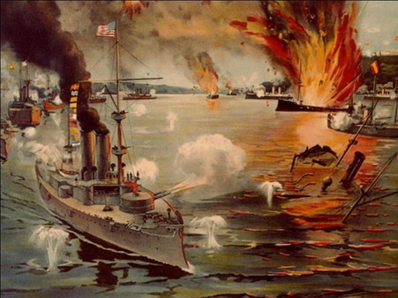 Le 1er mai 1898, la bataille de la baie de Manille est une victoire de la marine américaine commandée par le commodore George Dewey sur la flotte ...