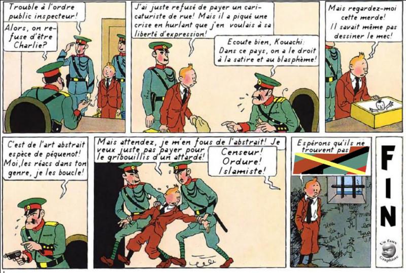 """Pour Tintin, par contre, la situation est délicate, tant il a du mal à s'adapter à ce monde du """"politiquement correct"""" ! Que craint-il que la police ne trouve ?"""