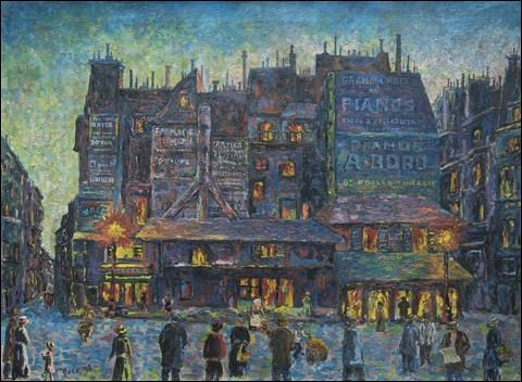 """Qui a peint """"Paris, rue animée le soir"""" ?"""