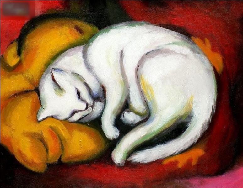 """Quel peintre expressionniste allemand est l'auteur du tableau """"Chat couché sur un coussin jaune"""" ?"""