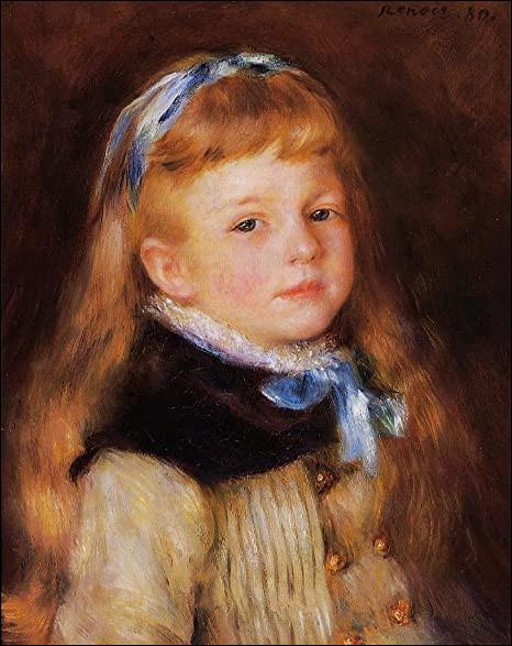 Et on termine avec une jeune fille au ruban, par le peintre :